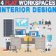 Interior Design Flat Workplace - GraphicRiver Item for Sale