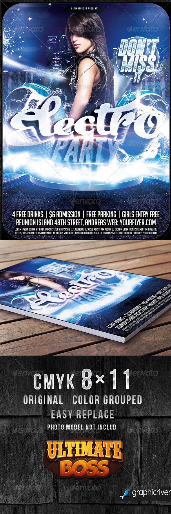Electro Night Flyer Template - Flyers Print Templates