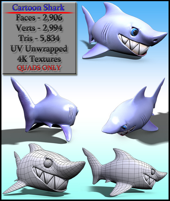 Cartoon Shark - 3DOcean Item for Sale