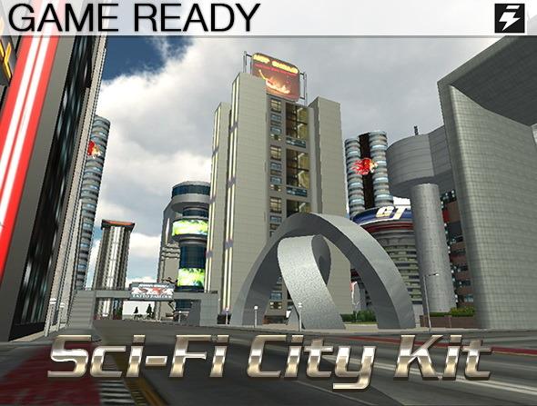 Game Ready Modular Sci-Fi City Kit - 3DOcean Item for Sale