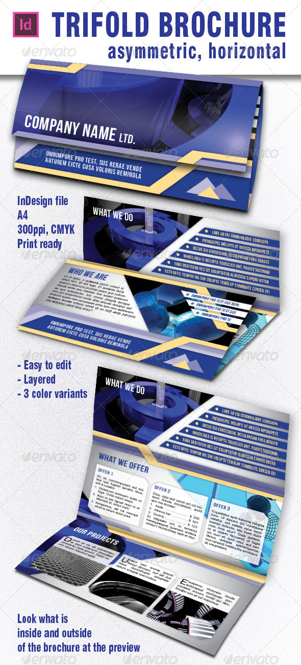 horizontal brochure template - asymmetric trifold brochure horizontal by lumberjackbg