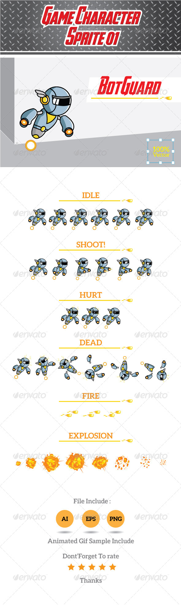 Game Character Sprite 01- BotGuard - Sprites Game Assets