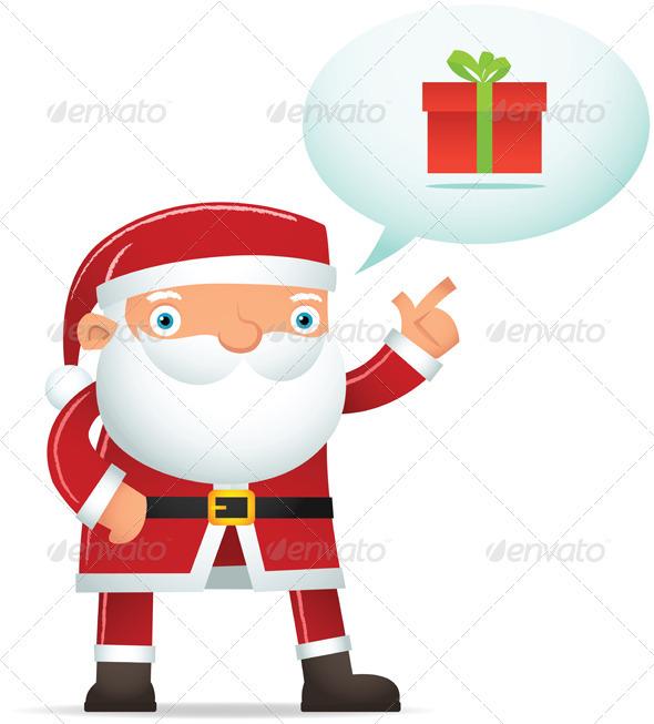 Santa Talking about Gift - Characters Vectors