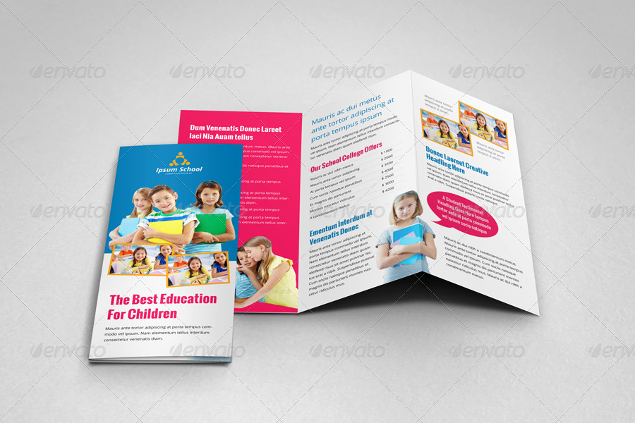 Education School Trifold Brochure Template V By JanySultana - Tri fold school brochure template