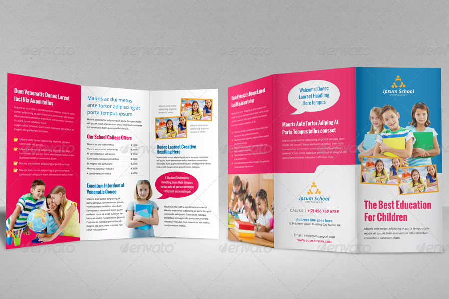 Education School Trifold Brochure Template V By JanySultana - School brochure templates