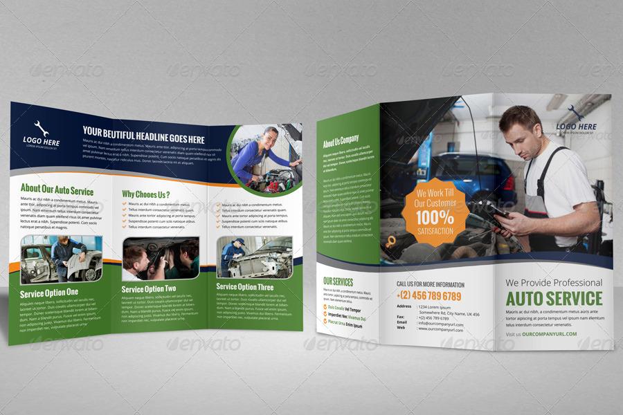 Auto Repair Service Trifold Brochure Template by JanySultana ...