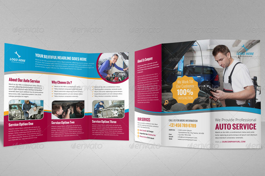 Auto repair service trifold brochure template by for Car brochure templates