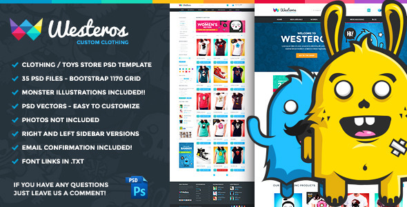 Westeros Custom Clothing PSD Template - Retail PSD Templates