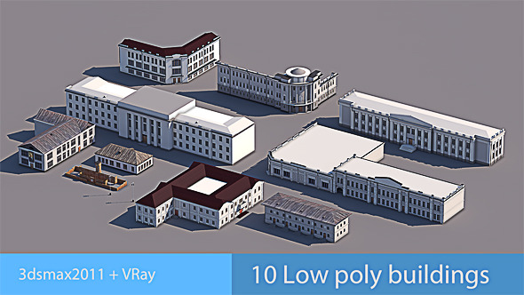 10 Low Poly Buildings - 3DOcean Item for Sale