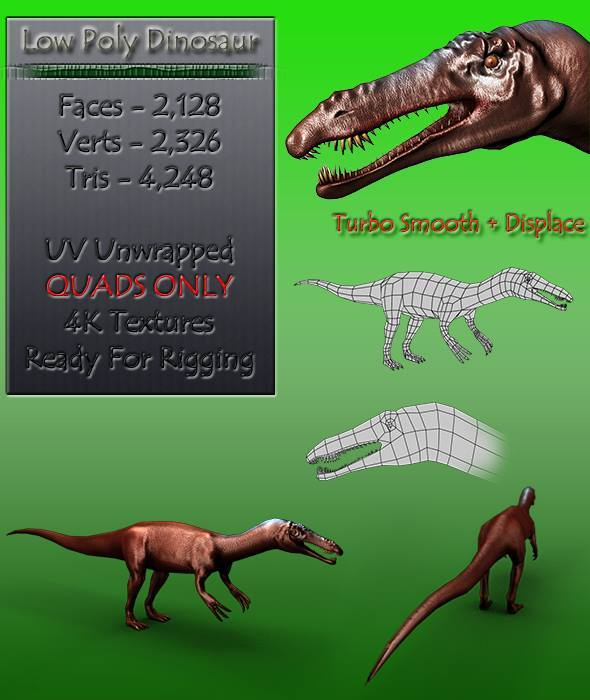 Low Poly Dinosaur - 3DOcean Item for Sale
