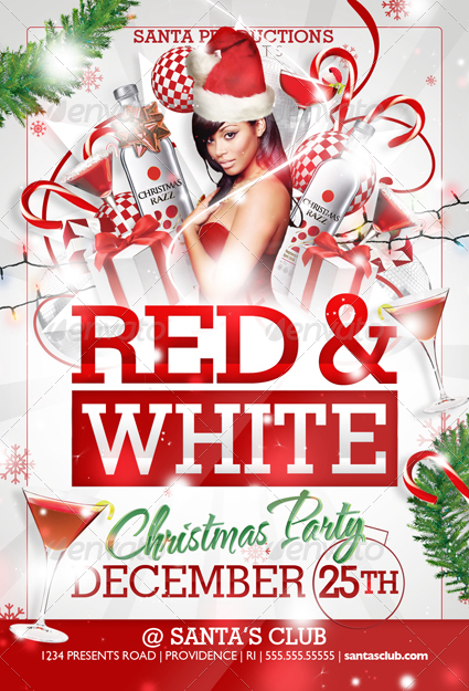 red and white christmas party flyer templates by creativb graphicriver