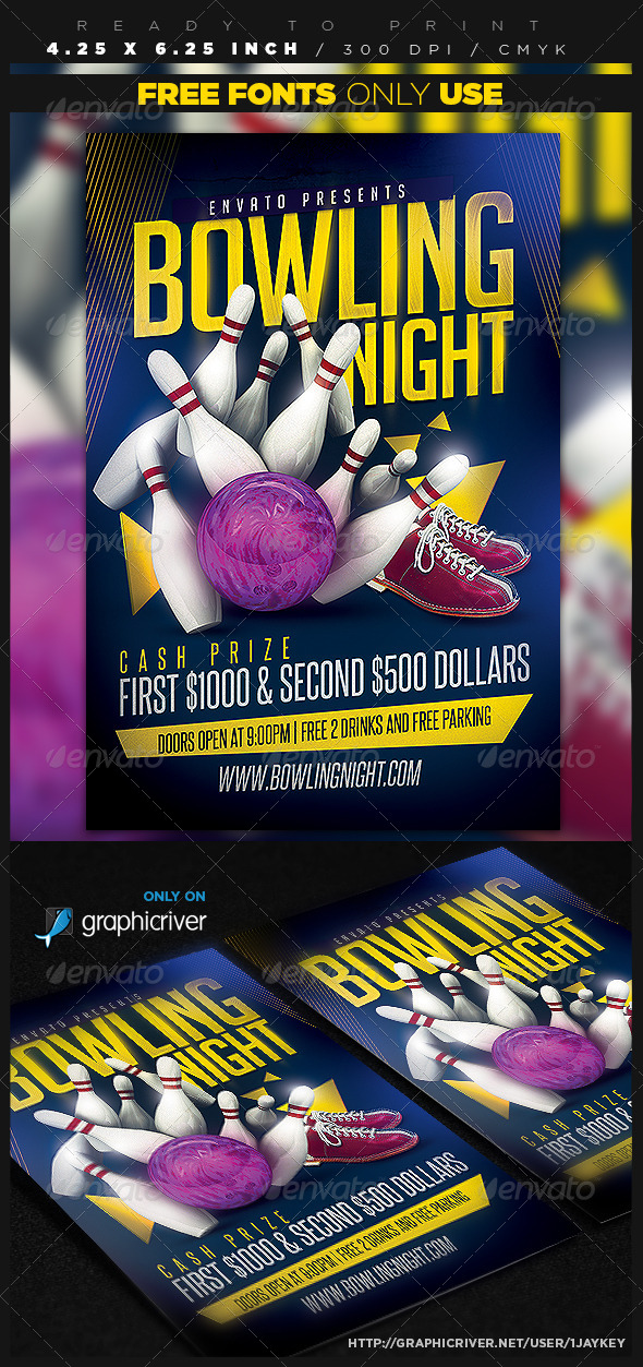 bowling party flyer template by 1jaykey graphicriver. Black Bedroom Furniture Sets. Home Design Ideas