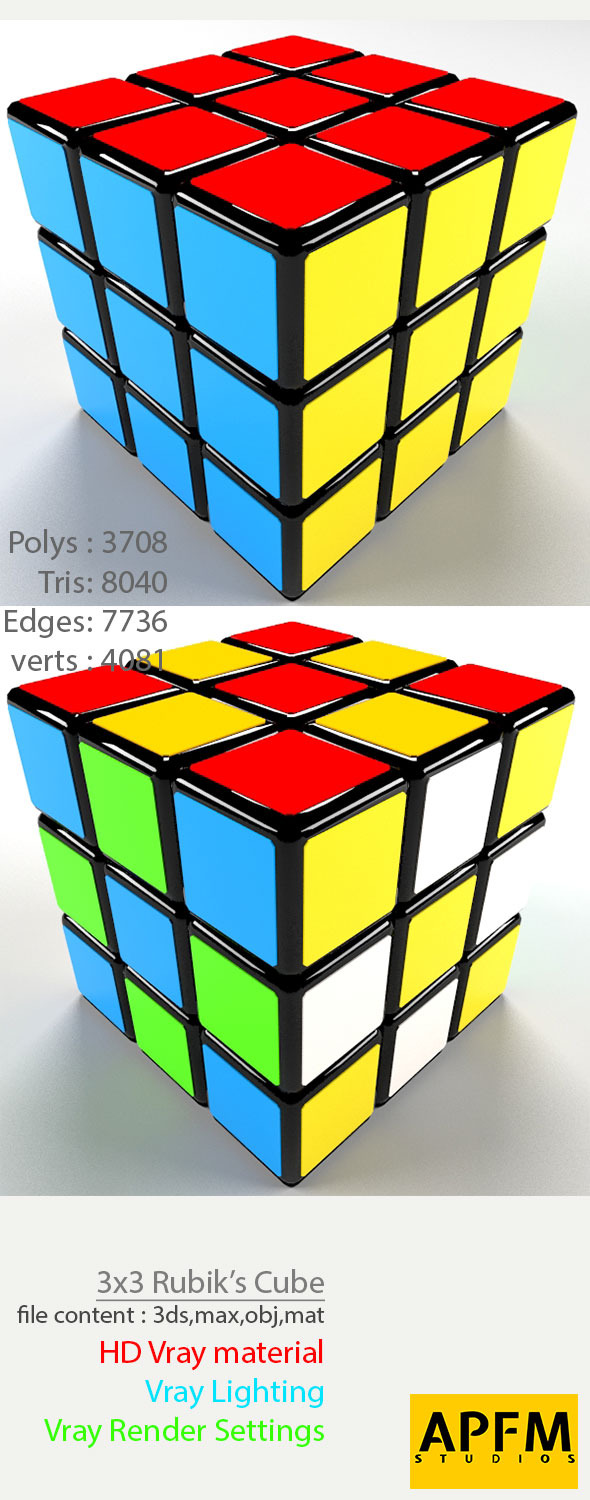 3D High Quality 3x3 Rubik's Cube Model - 3DOcean Item for Sale