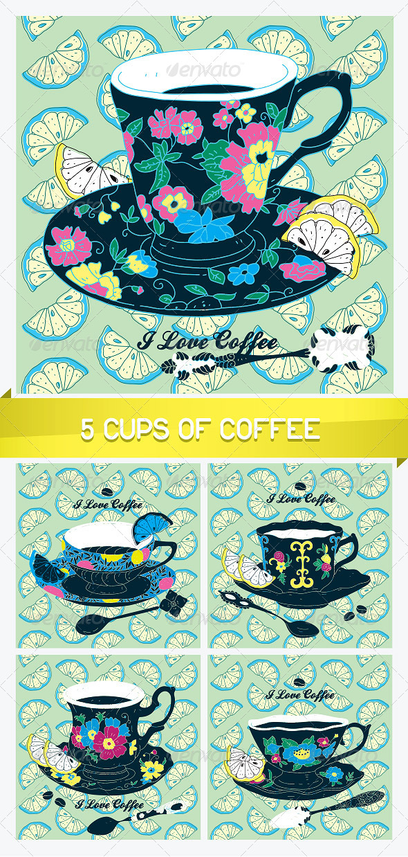 5 Elegant Cup of Coffee Cards - Miscellaneous Conceptual