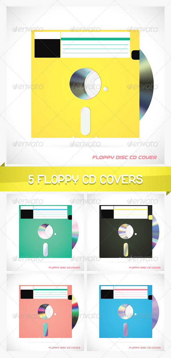 5 Old Fashion Floppy Discs with Compact Disc - Miscellaneous Conceptual