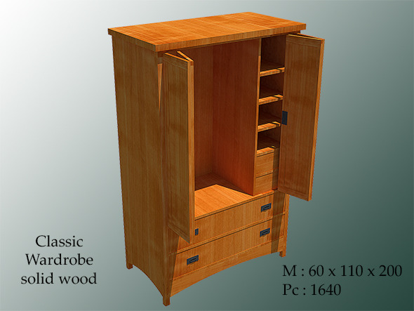 Classic Wardrobe Solid Wood - 3DOcean Item for Sale
