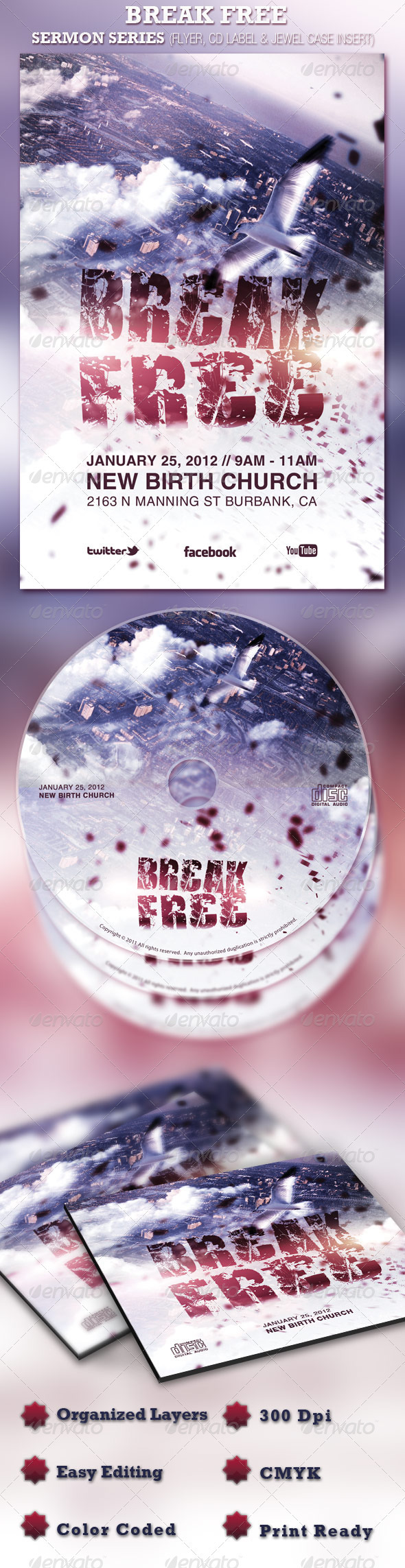 Break Free Church Flyer and CD Template - Church Flyers