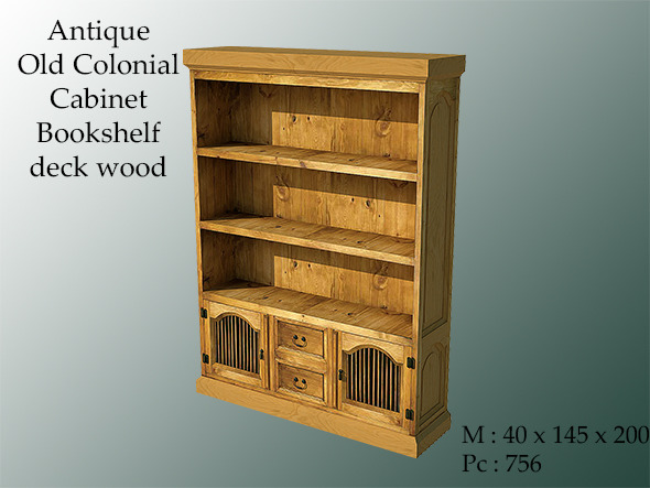 Antique Old Colonial Cabinet Bookshelf - 3DOcean Item for Sale