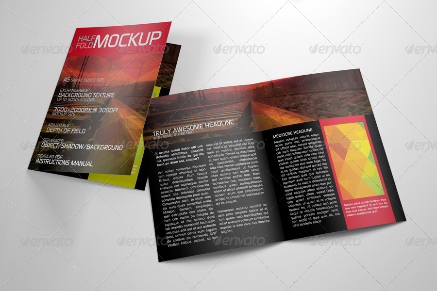 Realistic Half Fold Brochure Mockup by Kipet | GraphicRiver