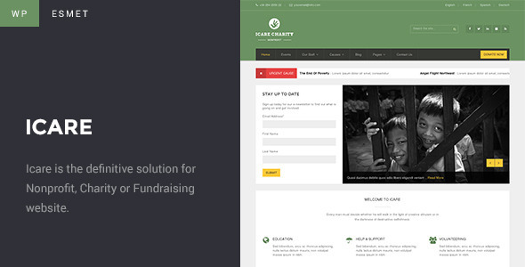ICARE - Charity, Nonprofit and Fundraising WordPress Theme