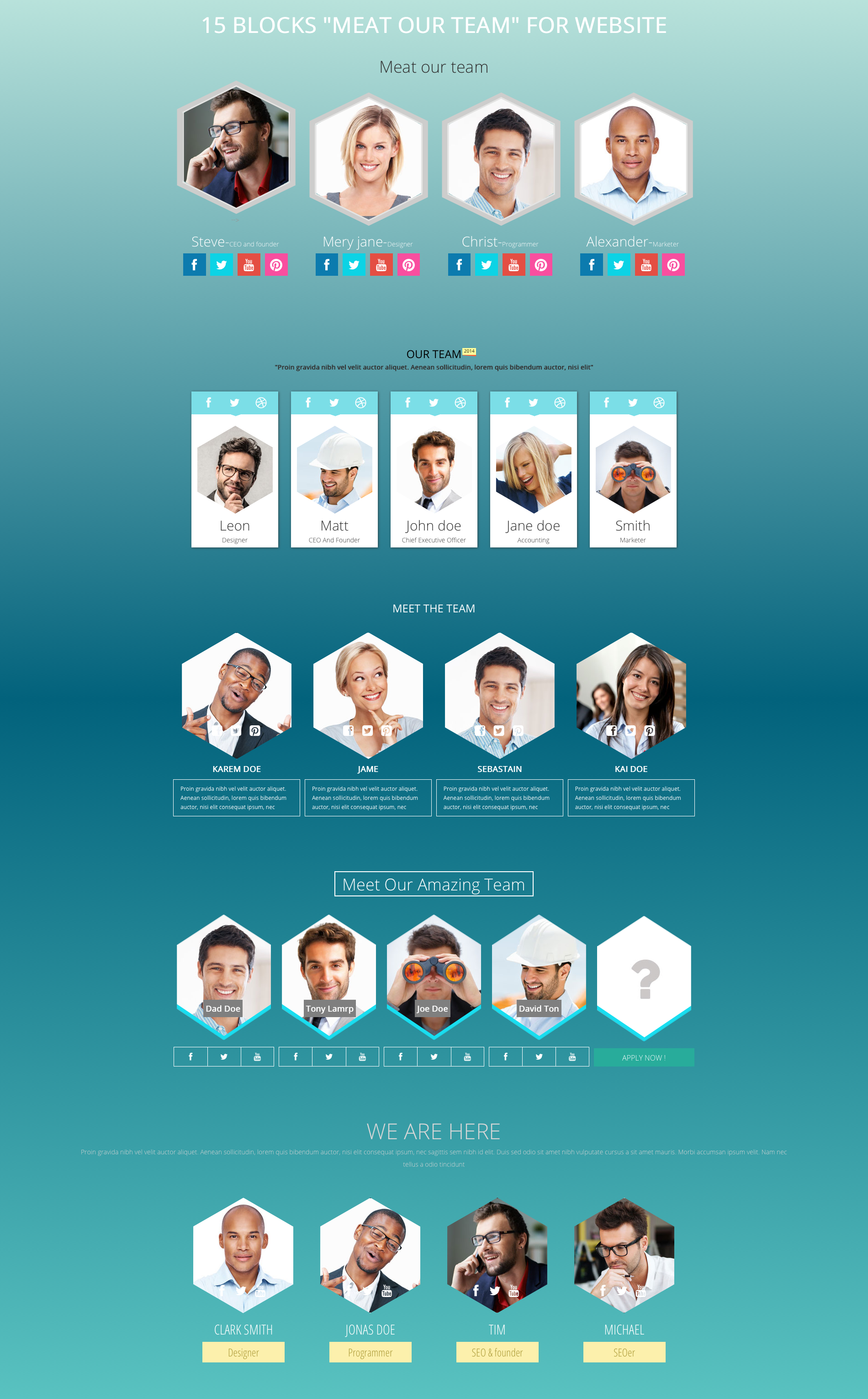 meet our team responsive design blocks by thememakers codecanyon