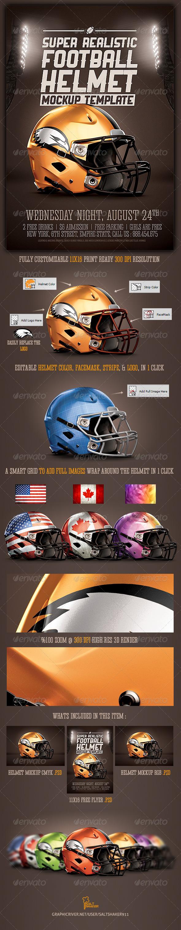 Realistic Football helmet Mockup - Sports Events