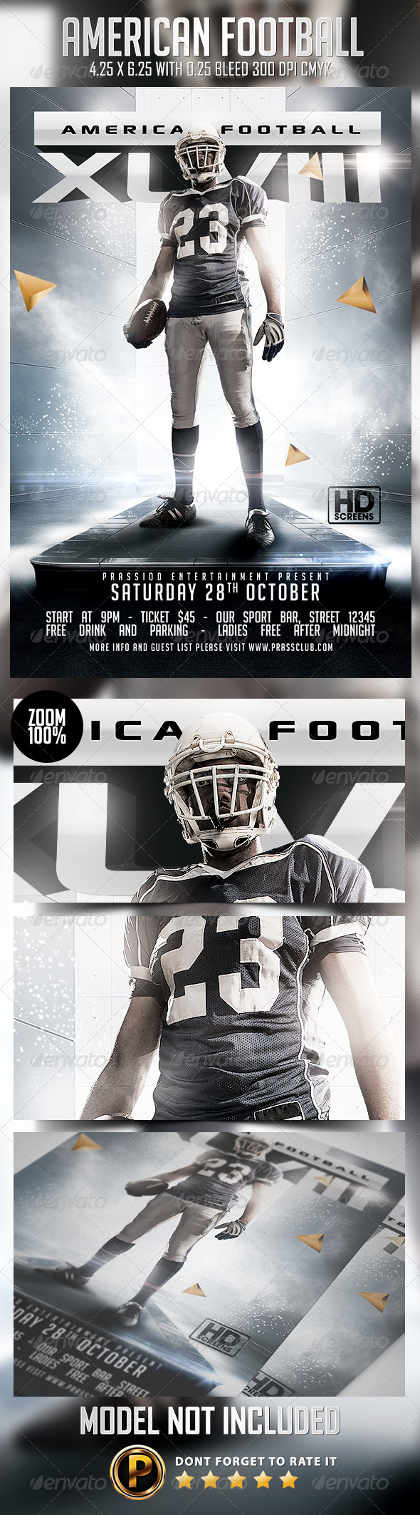 American Football Flyer Template By Prassiod Graphicriver