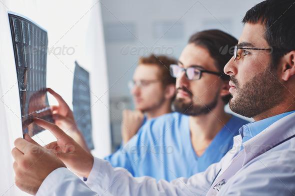 Examining x-ray - Stock Photo - Images