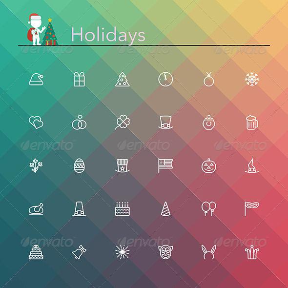 Holidays Line Icons - Seasonal Icons