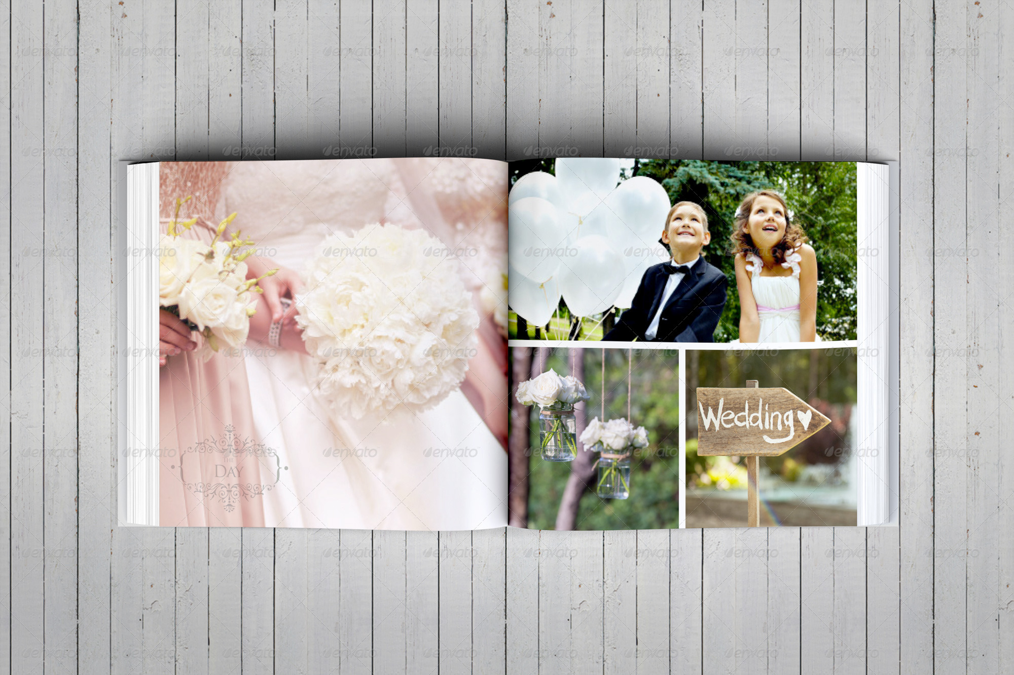 elegant square wedding photo album template by dogmadesign
