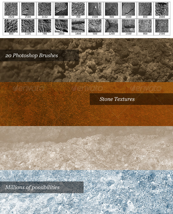 Stone Brush Pack (20 Photoshop Brushes) - Texture Brushes