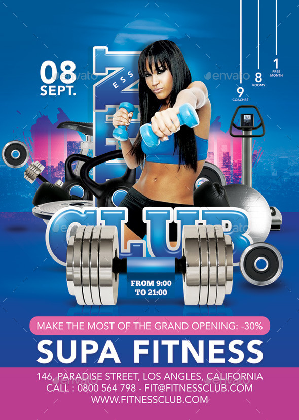 Flyer Super Modern Fitness Club Advertising Openin