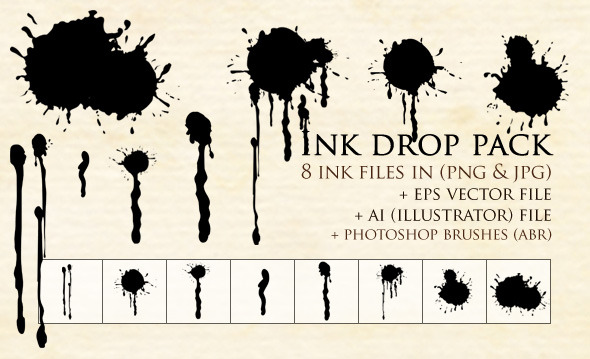 Ink Drop Pack - Grunge Brushes