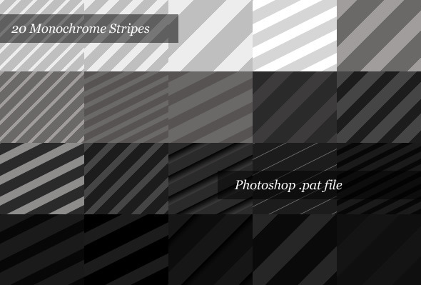 Monochrome Striped Backgrounds (20 Patterns) - Textures / Fills / Patterns Photoshop