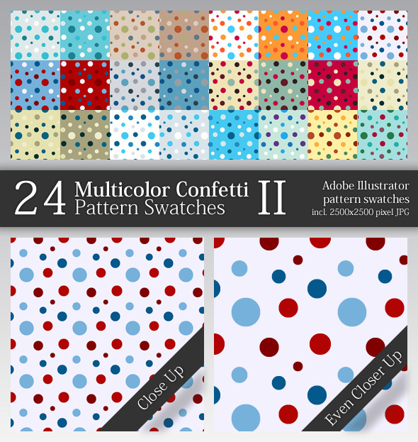 24 Multicolor Confetti Pattern Swatches II - Abstract Textures / Fills / Patterns