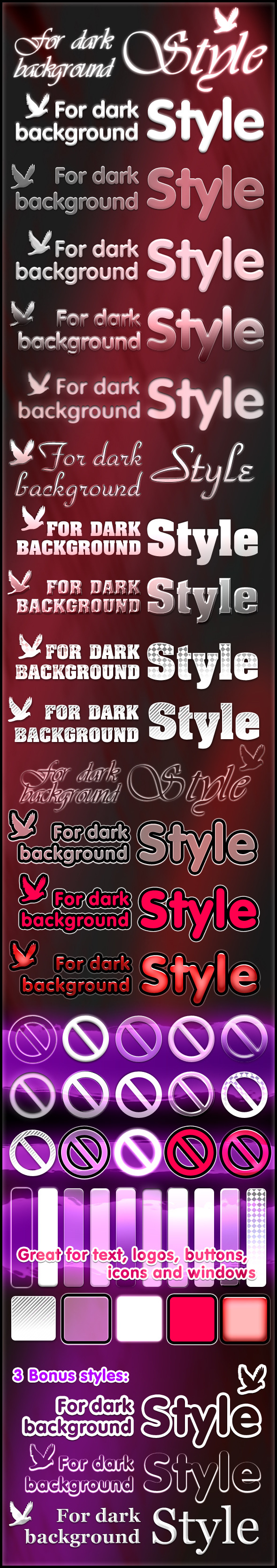 Styles for dark background - Text Effects Styles