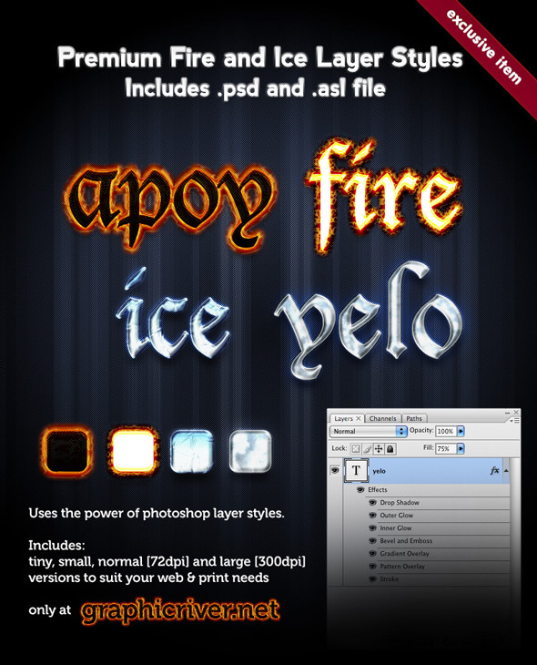 Premium Fire and Ice Layer Styles - Text Effects Styles