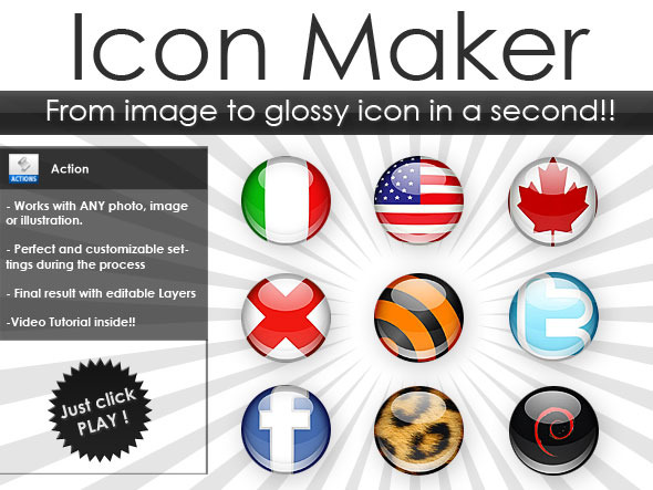 Icon maker.  Build glossy icons from any image!!