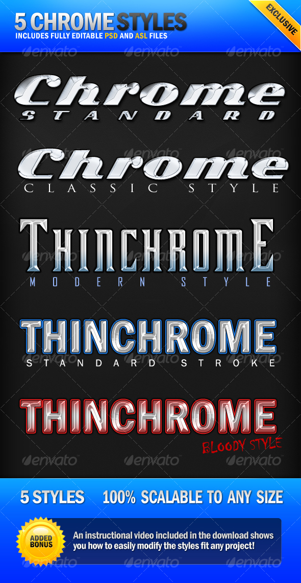 Chrome - 5 Clean Metallic Photoshop Styles - Text Effects Styles