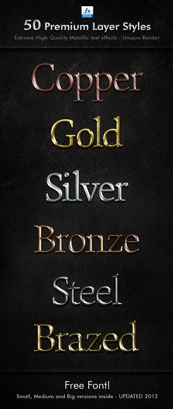 Shiny Metal Styles Pack - Text Effects Styles