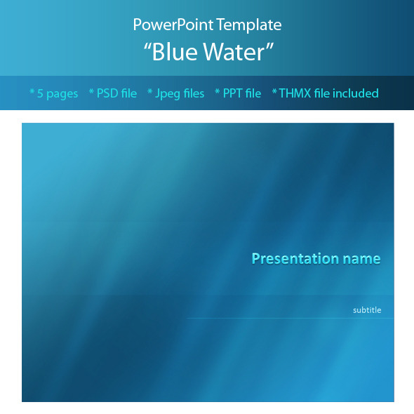 blue water powerpoint templatem-e-f | graphicriver, Modern powerpoint