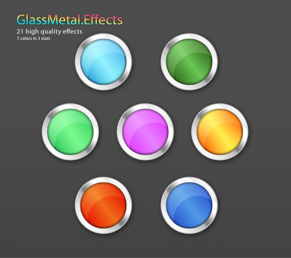21 Glass-Metal Shape effects - Photoshop Add-ons