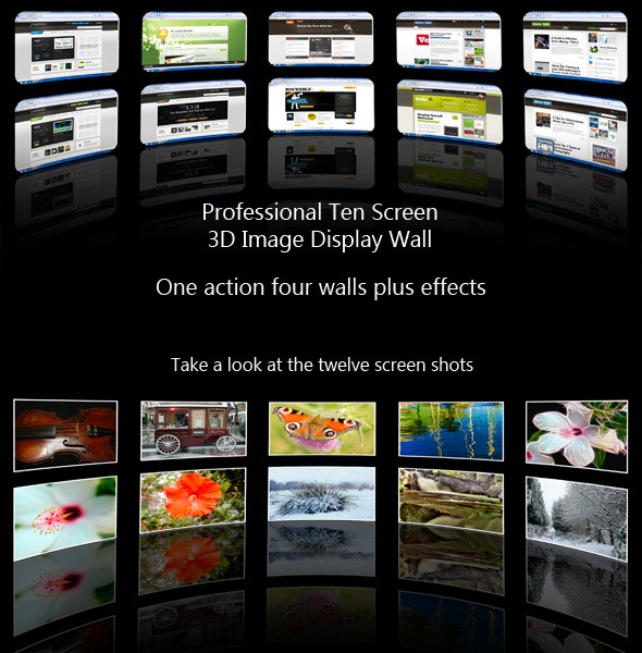Ten Screen 3D Videowall Webpage Display Action - Utilities Actions