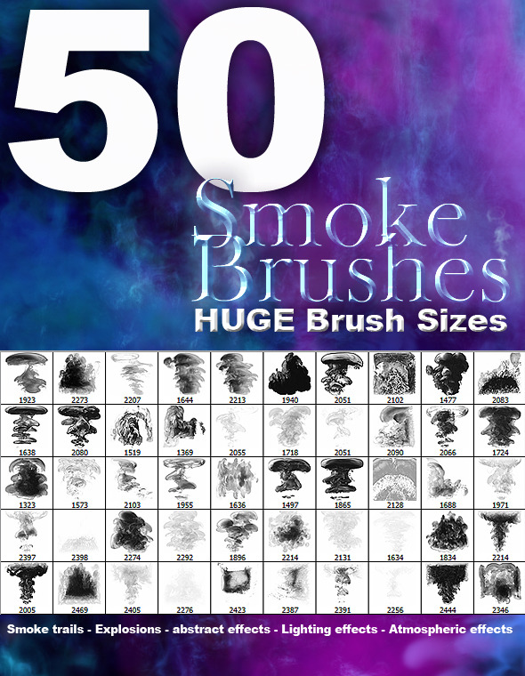 50 High Res Smoke Brushes - Brushes Photoshop
