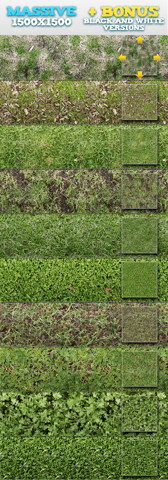 10 Tileable Grass Patterns + BONUSES - Textures / Fills / Patterns Photoshop