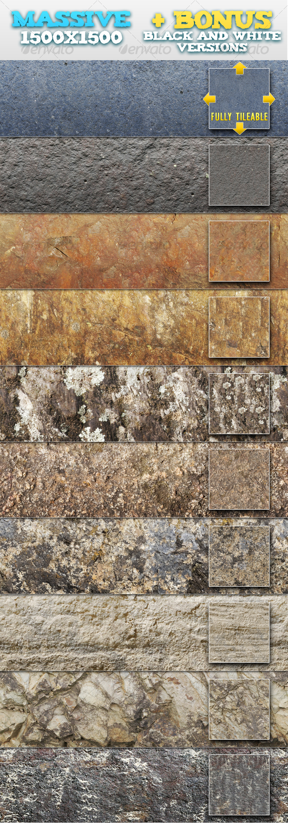 10 Natural Rock / Stone Patterns + BONUSES - Textures / Fills / Patterns Photoshop