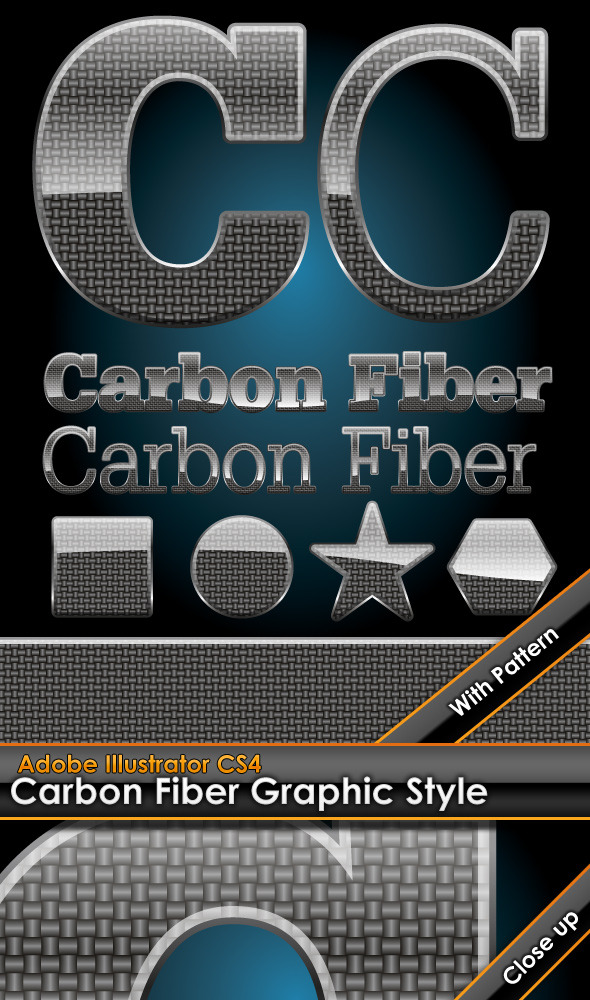 Glossy Carbon Fiber Graphic Style with Pattern - Styles Illustrator