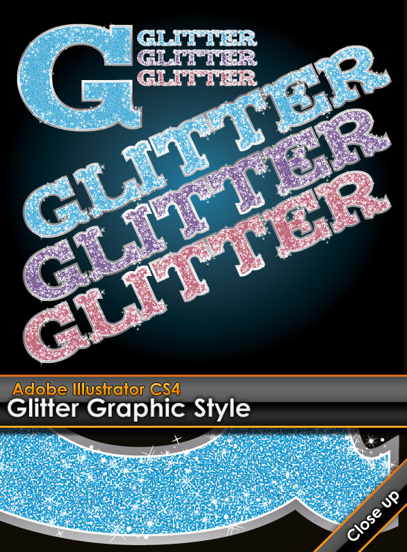 Glitter Illustrator Graphic Style - Styles Illustrator