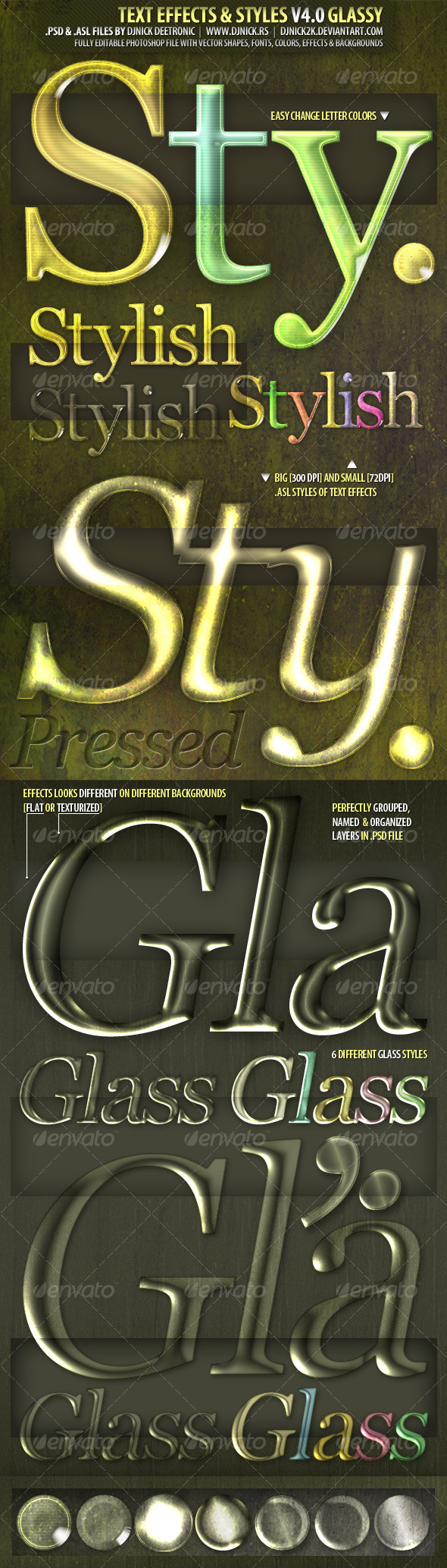 Glassy Text Effects - Editable PSD with ASL file - Text Effects Styles