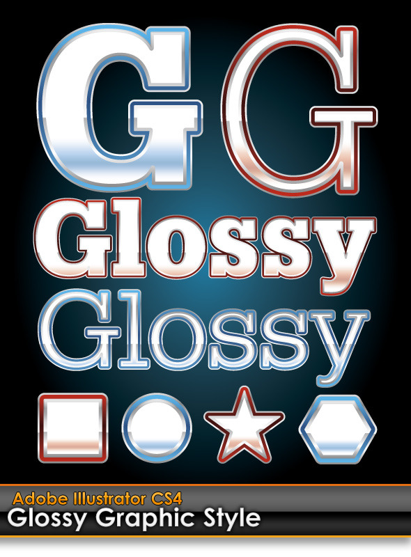 Glossy Illustrator Graphic Styles (Red & Blue)  - Styles Illustrator